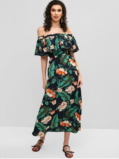 Vestido de tubo con hombros descubiertos con superposición floral - Verde L Mobile
