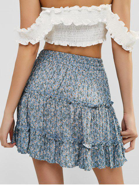 online Floral Flounce Mini Frilled Skirt - BLUE KOI S Mobile