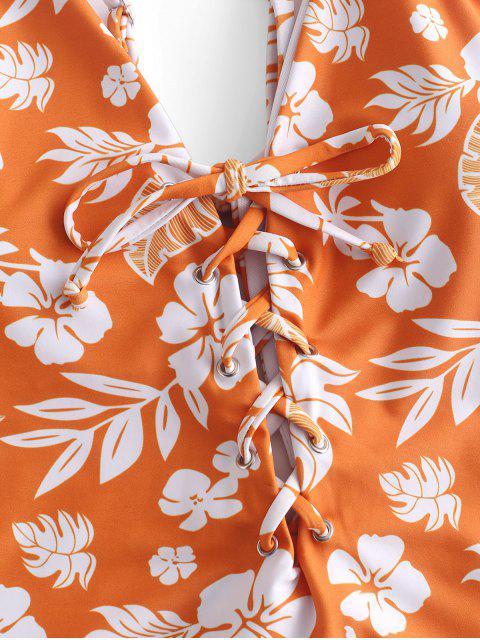 ZAFUL Floral Lace Up Cami Swimsuit - Mango Naranja S Mobile