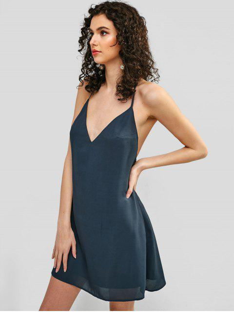 shops ZAFUL Open Back Strappy Cami Dress - DARK SLATE GREY S Mobile