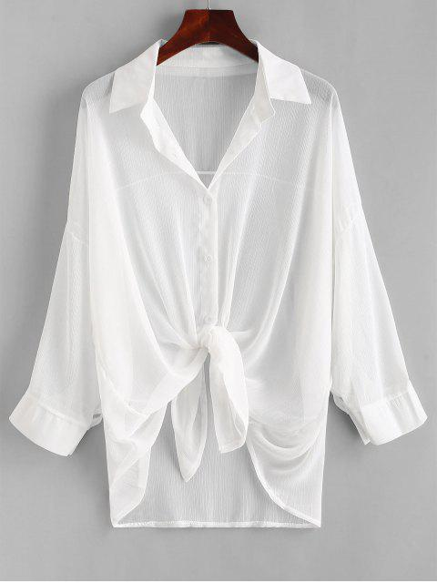ladies Button Up Drop Shoulder Cover Up - WHITE ONE SIZE Mobile