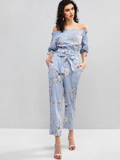 ff8b8d981 Conjunto De Blusas Com Estampa Floral E Calça Listrada - Azul Claro S