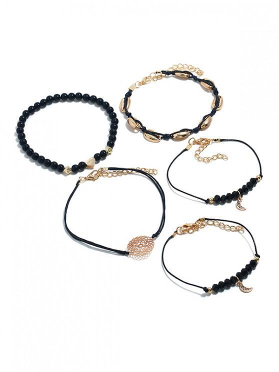 fancy Seashell Decoration Knitted Bracelets Set - BLACK