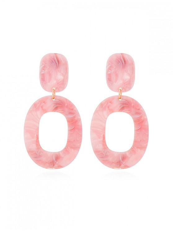 affordable Stone Pattern Oval Drop Earrings - LIGHT PINK