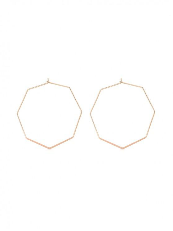 buy Geometric Octagon Hoop Earrings - PINK