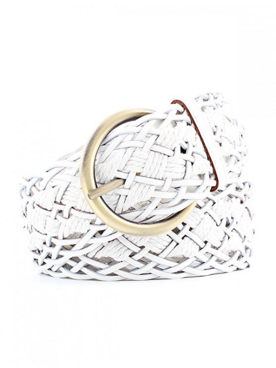 best Wide Weaving Round Buckle Belt - WHITE