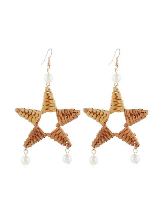 Aretes De Ratán De Perla De Faux De La Estrella - Caqui