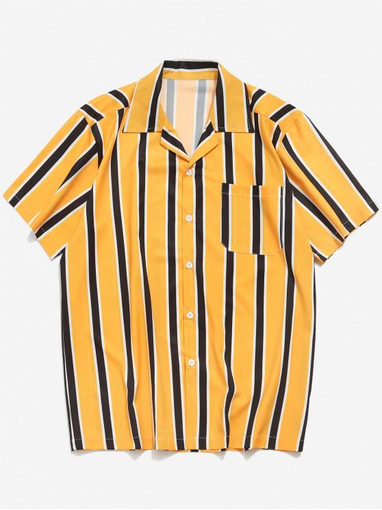 Stripes Print Button Up Freizeithemd - Gelb 2XL