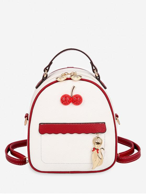 trendy Contrast Color Cat Charm Mini Backpack - WHITE