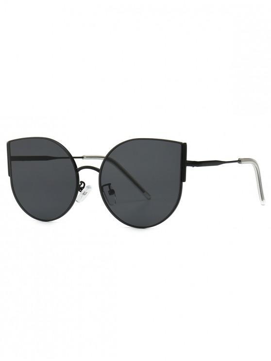 chic Metal Oversized Catty Eye Sunglasses - JET BLACK