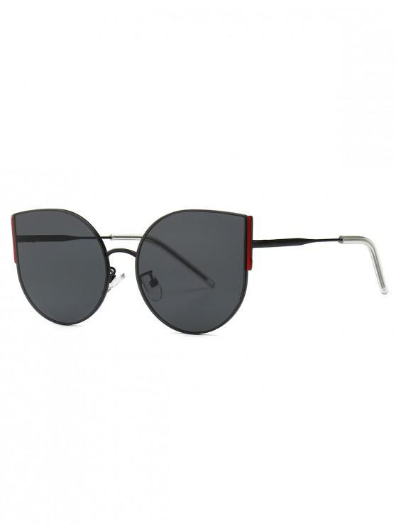 buy Metal Oversized Catty Eye Sunglasses - BLACK