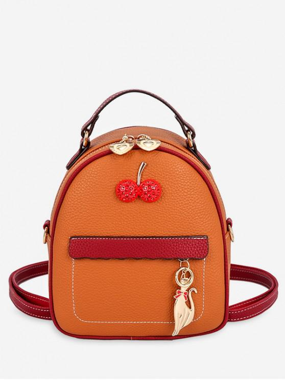 women's Contrast Color Cat Charm Mini Backpack - BROWN
