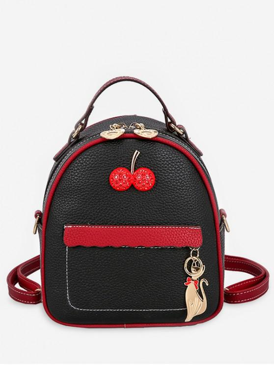 best Contrast Color Cat Charm Mini Backpack - BLACK