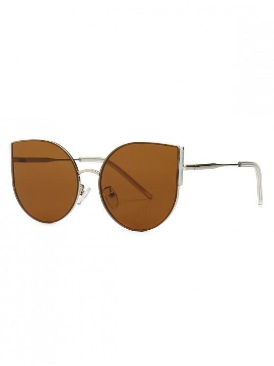Metal Oversized Catty Eye Sunglasses   Brown by Zaful
