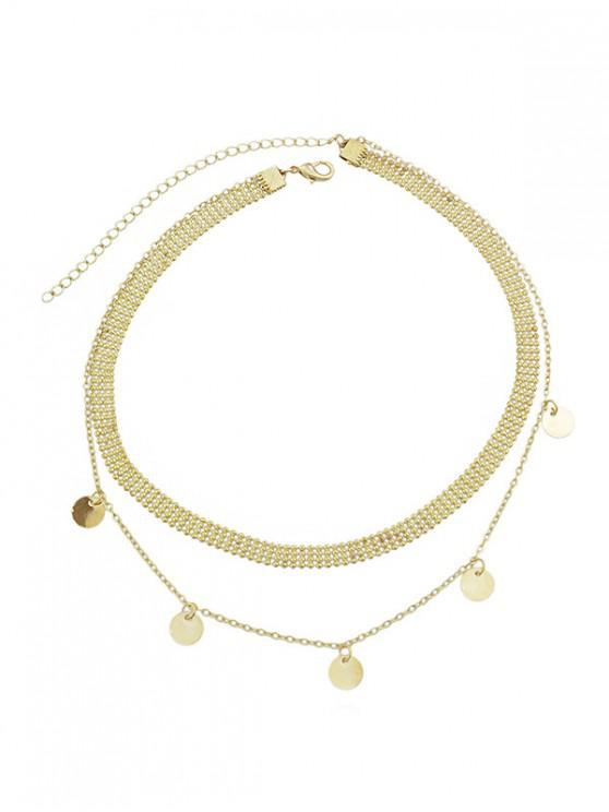 hot Round Disc Design Alloy Necklace - GOLD