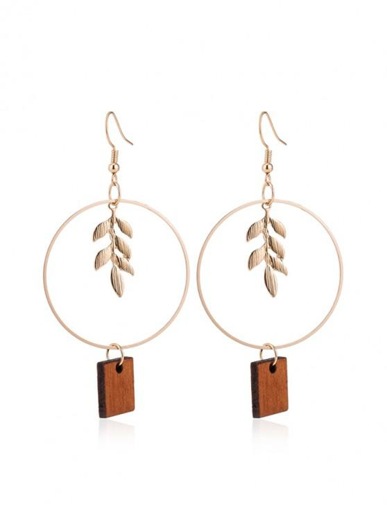 trendy Leaf Decoration Wooden Drop Earrings - GOLD