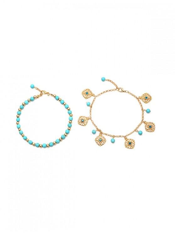 fancy 2Pcs Beaded Hollow Charm Anklet Set - GOLD