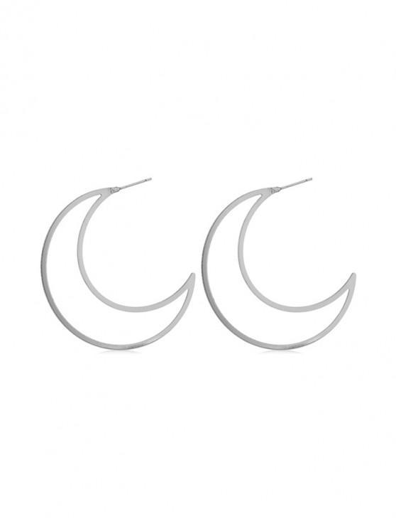 unique Moon Shape Hollow Stud Earrings - SILVER