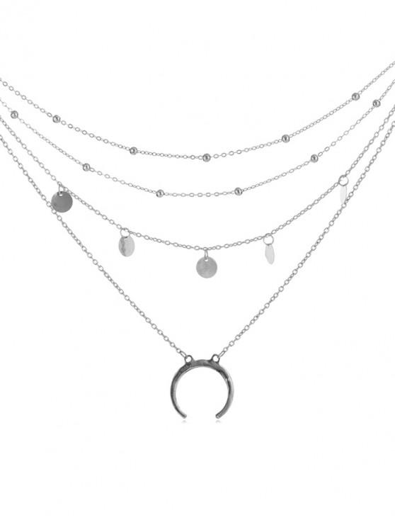sale Moon Decoration Multilayered Alloy Necklace - SILVER