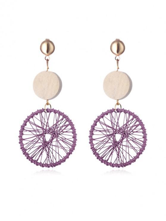 women's Round Net Wooden Drop Earrings - LIGHT PINK