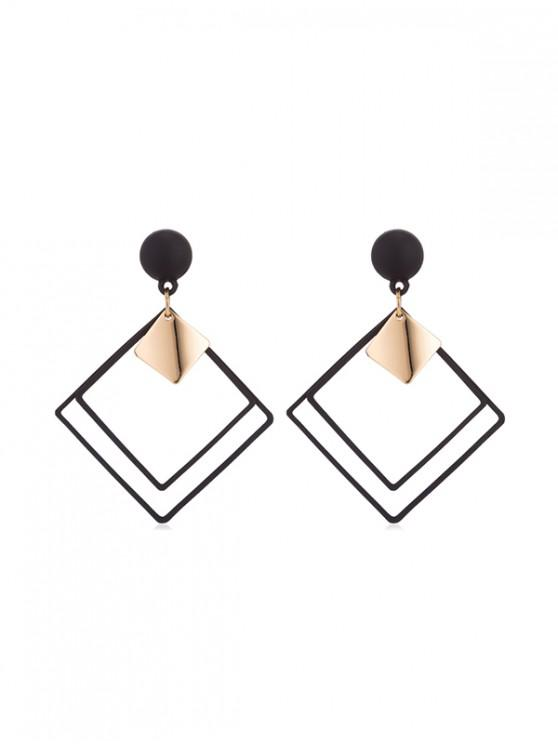 ladies Hollow Rhombus Stud Drop Earrings - BLACK