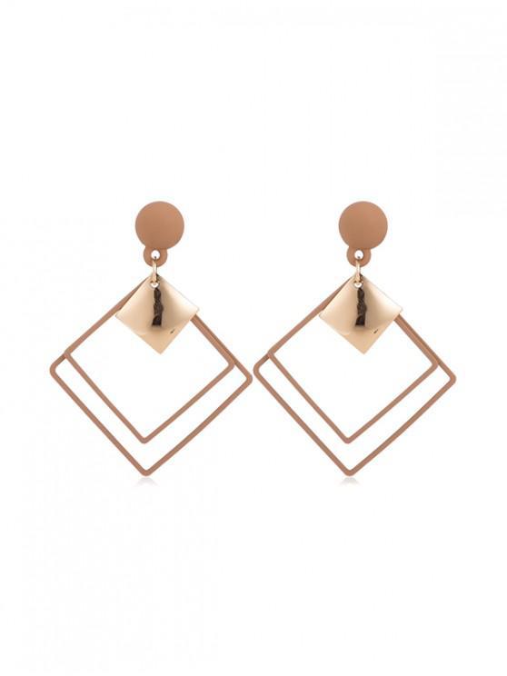 best Hollow Rhombus Stud Drop Earrings - CINNAMON