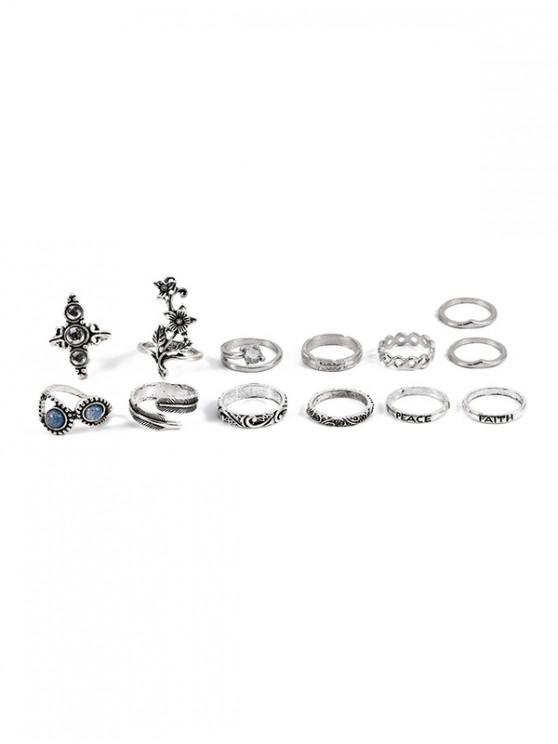 Juego de anillos de flores con letras de 13 piezas - Plata