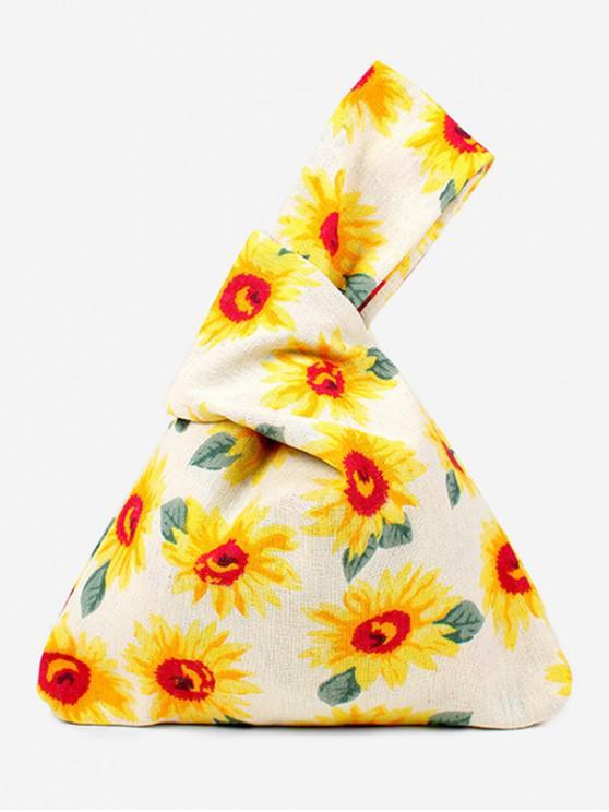 best Japanese Style Print Cotton Handbag - SUN YELLOW
