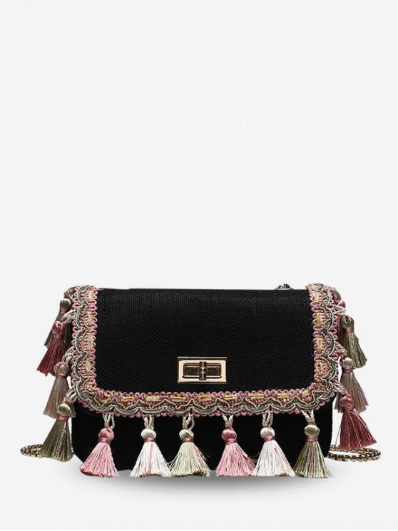 online Fringed Woven Chain Crossbody Bag - BLACK