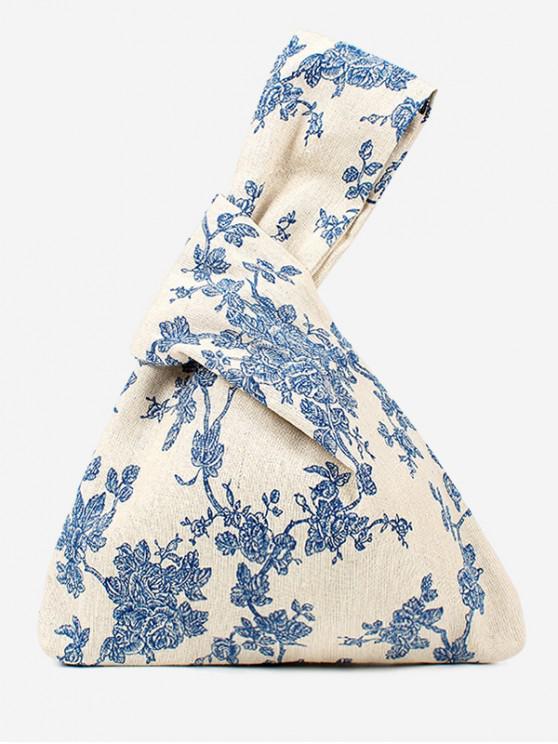 fancy Japanese Style Print Cotton Handbag - BLUE GRAY
