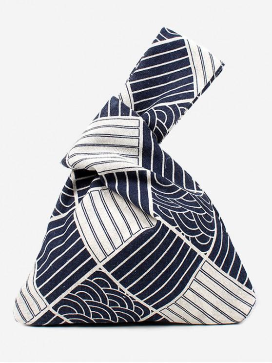 Bolso de mano de algodón con estampado japonés - Azul de Pizarra Oscuro