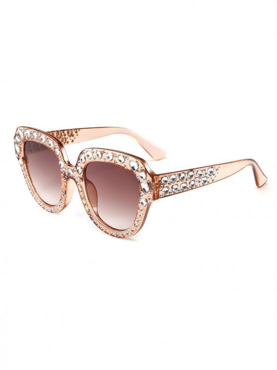 unique Heart Rhinestone Square Sunglasses - CHAMPAGNE