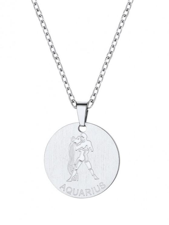 women's Coin Horoscope Pendant Necklace - SILVER AQUARIUS