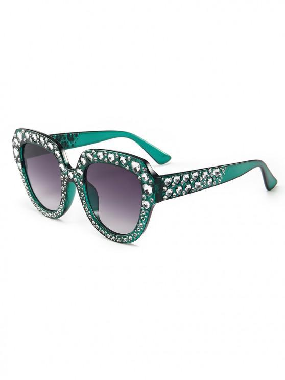 hot Heart Rhinestone Square Sunglasses - DARK GREEN