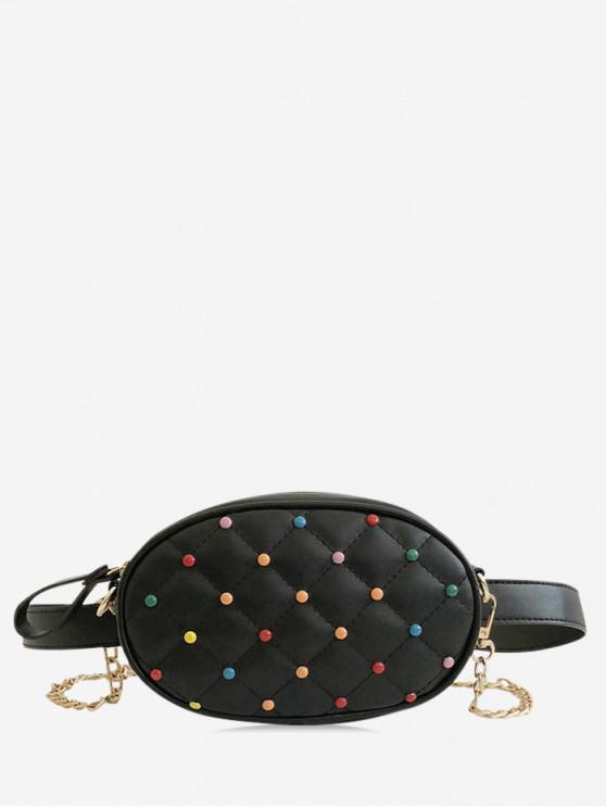 affordable Rivet Design PU Crossbody Bag - BLACK