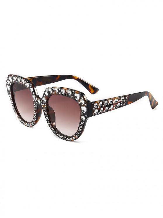 buy Heart Rhinestone Square Sunglasses - LEOPARD
