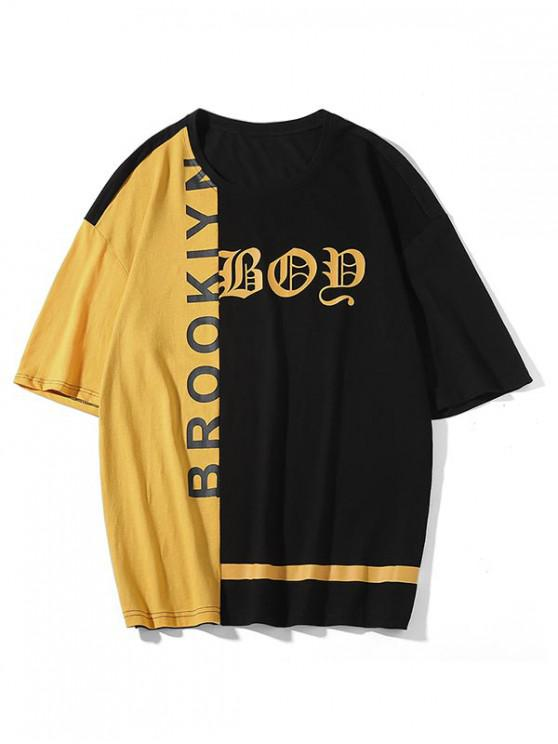 outfits Letter Print Color Block Drop Shoulder T-shirt - BLACK XL