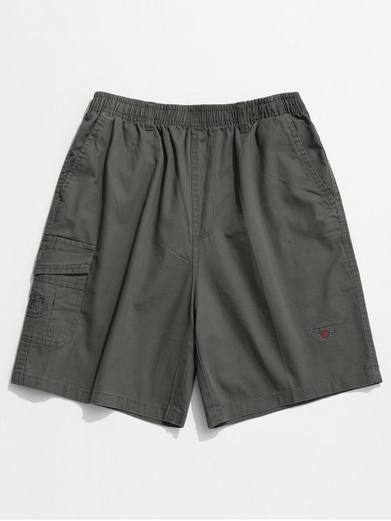 new Embroidery Pattern Print Drawstring Shorts - JET GRAY XS