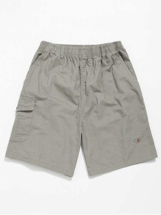 shop Embroidery Pattern Print Drawstring Shorts - GRAY CLOUD XS