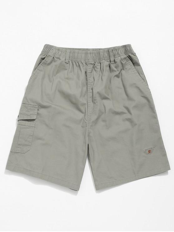 latest Embroidery Pattern Print Drawstring Shorts - GRAY CLOUD M