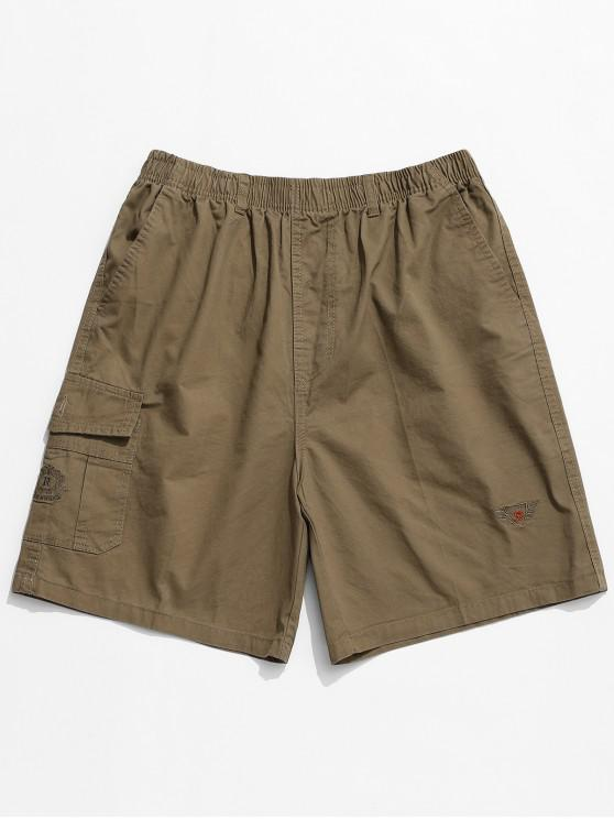 affordable Embroidery Pattern Print Drawstring Shorts - SAND S