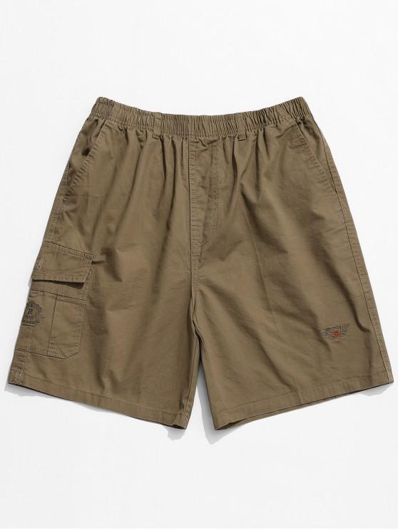 buy Embroidery Pattern Print Drawstring Shorts - SAND M