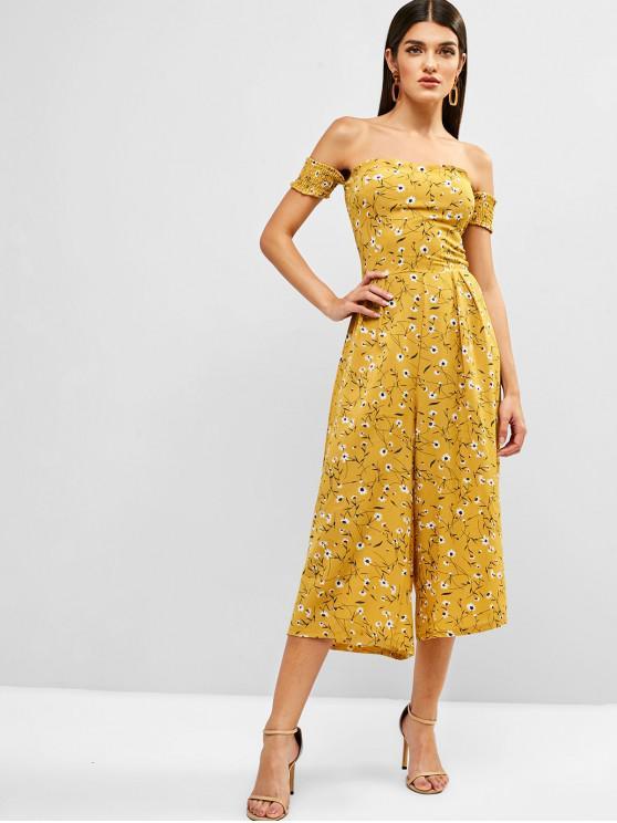 shops Floral Off Shoulder Smocked Wide Leg Jumpsuit - YELLOW L