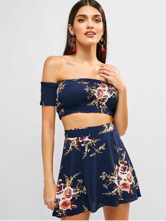 Conjunto de falda con cuello cruzado y hombros descubiertos florales - Azul de Medianoche M