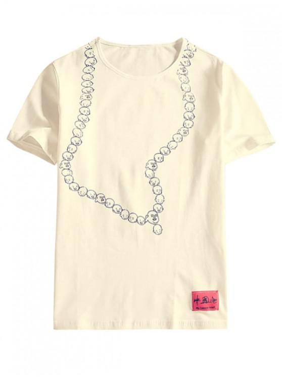 online Emotion Face Drawing Print Casual T-shirt - WHITE XL