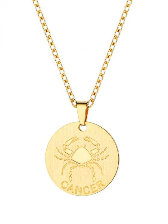 fancy Coin Horoscope Pendant Necklace - GOLD CANCER