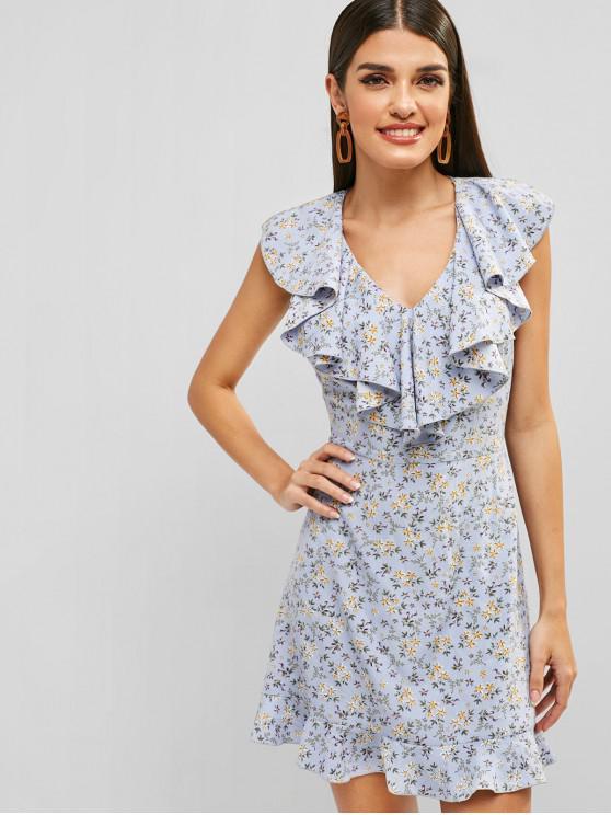 fashion ZAFUL Floral V Neck Flounce Dress - DAY SKY BLUE L