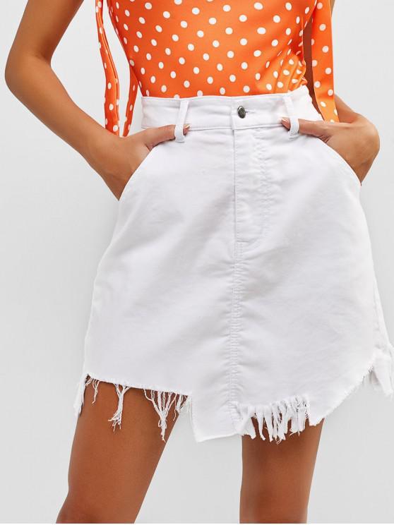 907d1af3c 32% OFF] 2019 Frayed Mini High Rise Pocket Skirt In WHITE   ZAFUL