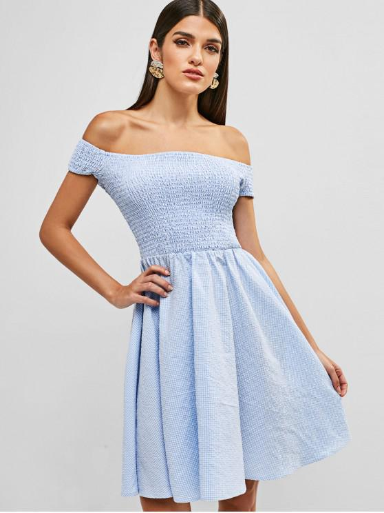 unique ZAFUL Gingham Off Shoulder Smocked Dress - DAY SKY BLUE L