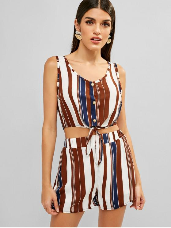 women ZAFUL Tie Front Button Up Stripes Top Set - MULTI S